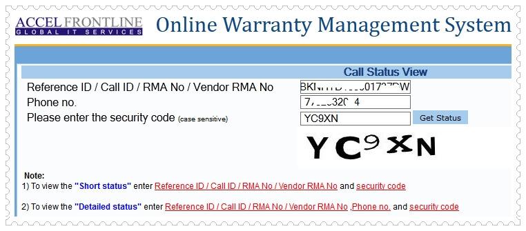 Belkin Warranty Check- Call Status Check