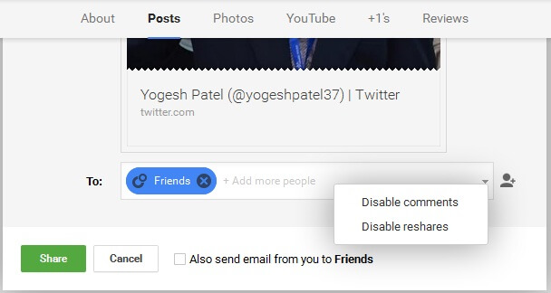 Disable Google+ Reshares Comments
