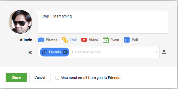 Google Plus Step 1