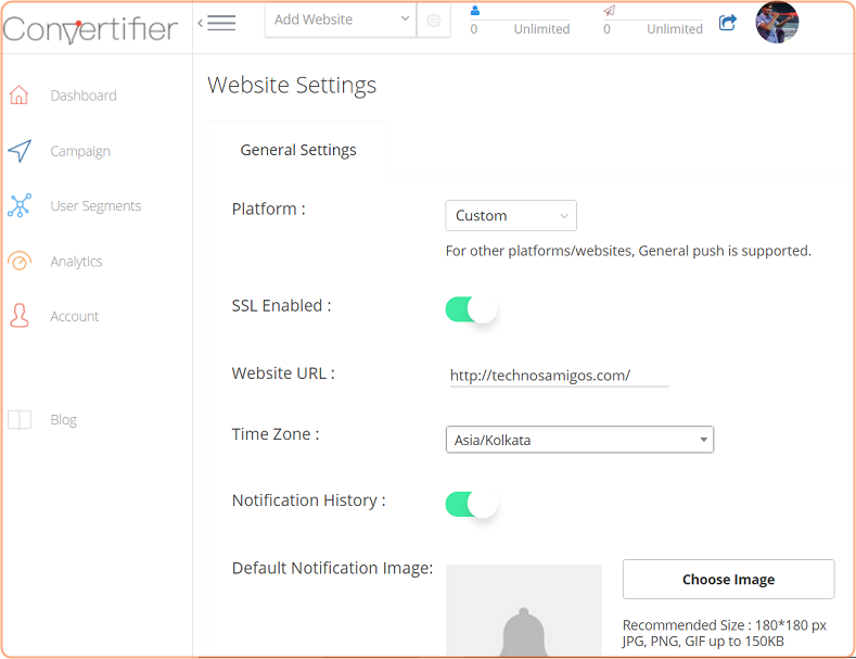 Convertifier website settings