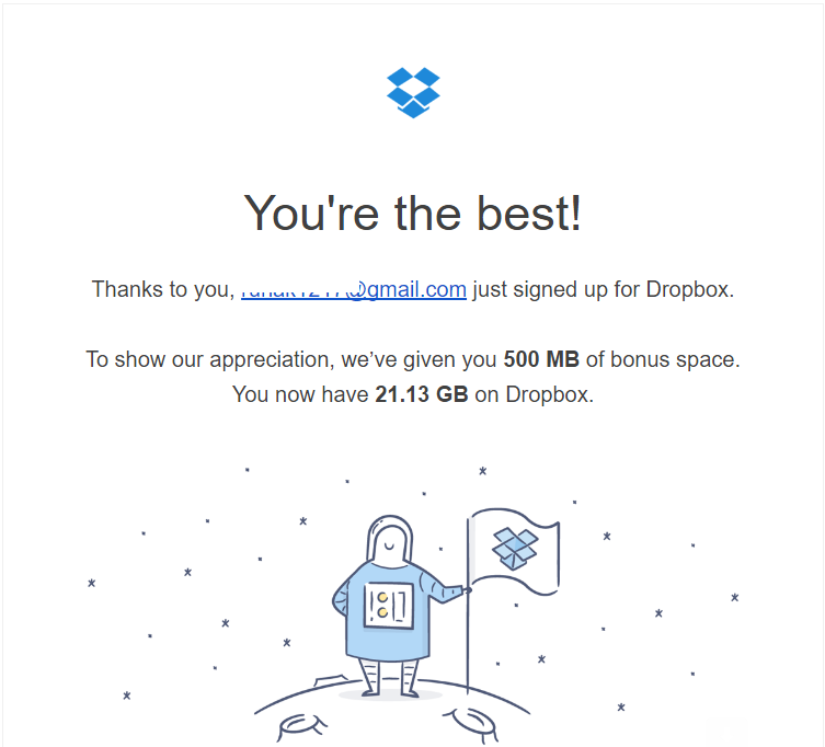 Dropbox free space increase