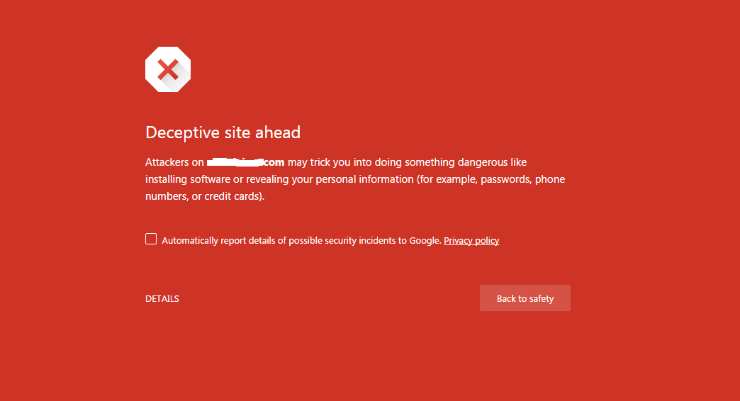 Deceptive Site Ahead Google Chrome