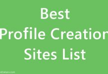 Profile Creation Sites List