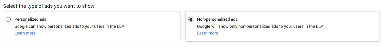Google A EU User Consent Settings