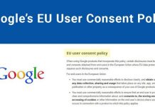 Google Adsense EU User Consent Settings